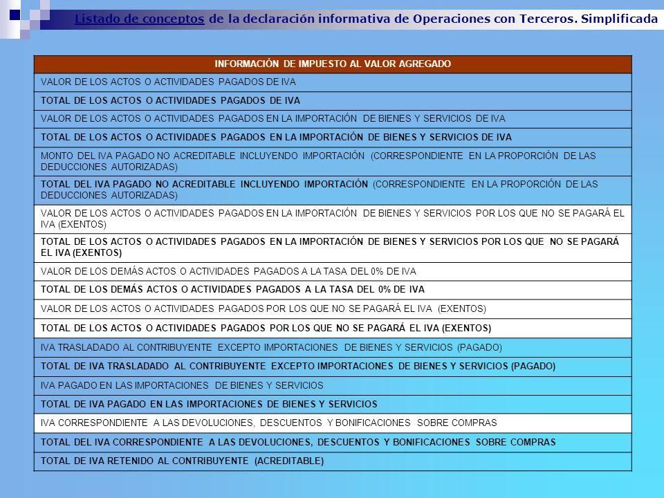 INFORMACIÓN DE IMPUESTO AL VALOR AGREGADO