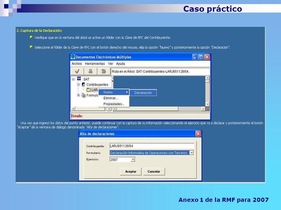 Caso práctico Anexo 1 de la RMF para 2007