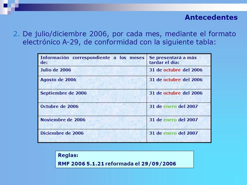 Antecedentes De julio/diciembre 2006, por cada mes, mediante el formato electrónico A-29, de conformidad con la siguiente tabla: