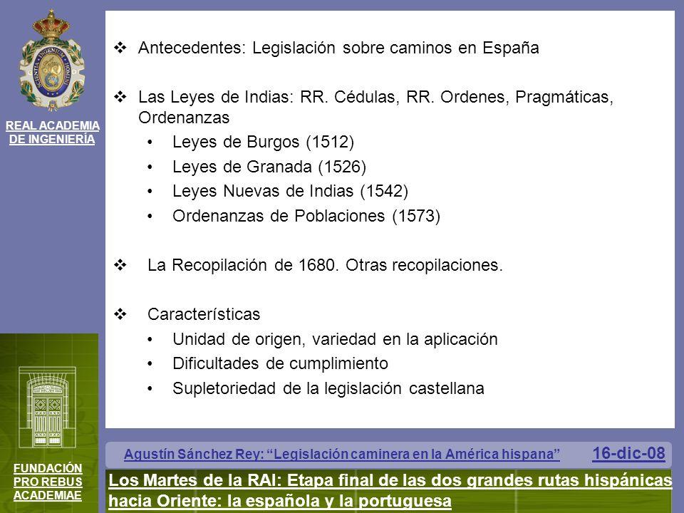 Antecedentes: Legislación sobre caminos en España