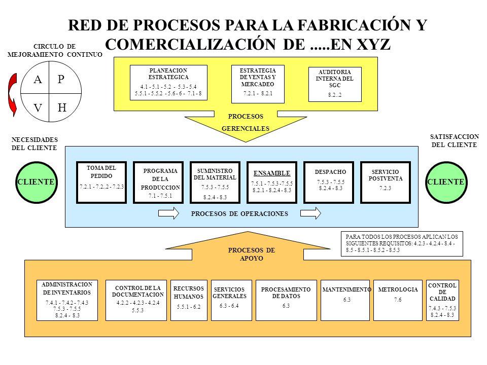 RED DE PROCESOS PARA LA FABRICACIÓN Y COMERCIALIZACIÓN DE .....EN XYZ