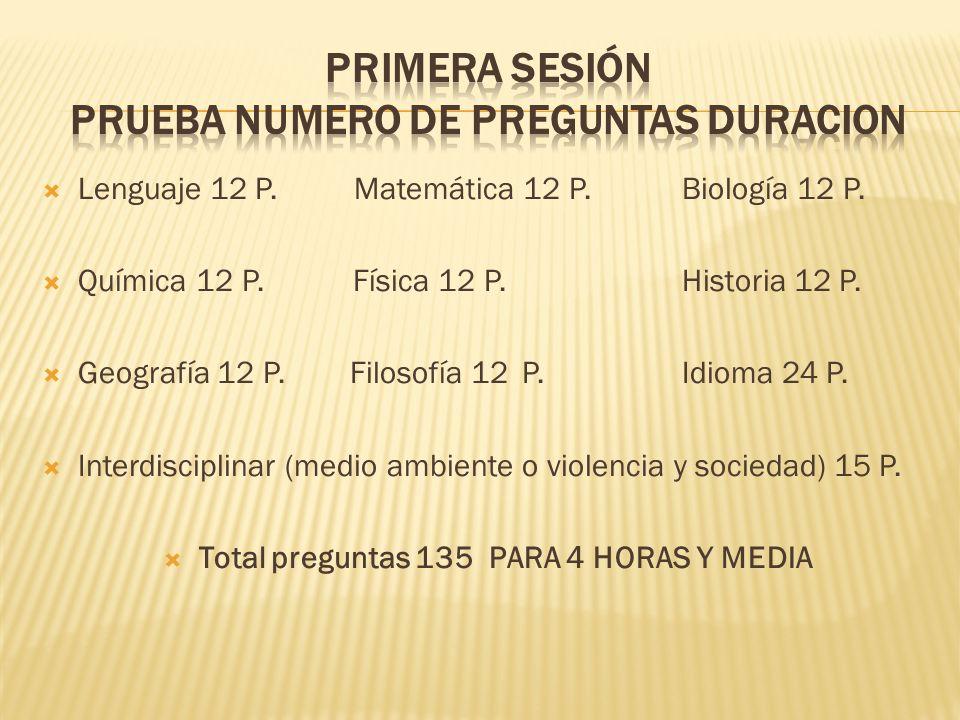Primera sesión PRUEBA NUMERO DE PREGUNTAS DURACION