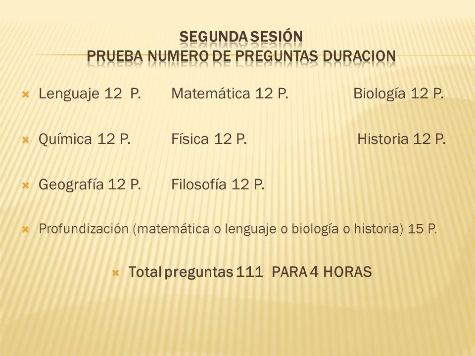 Segunda sesión PRUEBA NUMERO DE PREGUNTAS DURACION
