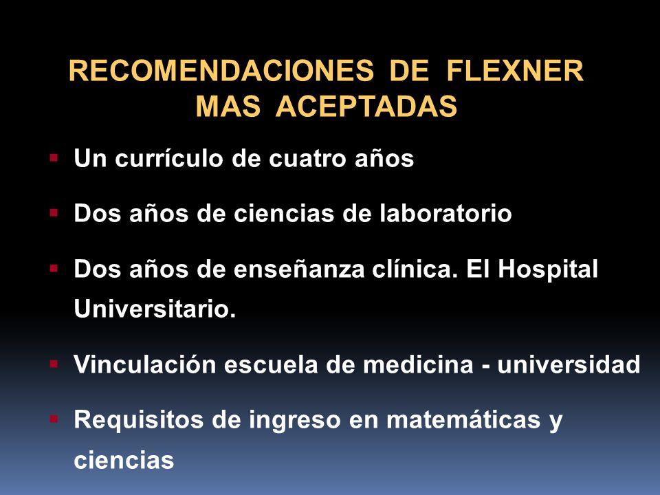 RECOMENDACIONES DE FLEXNER MAS ACEPTADAS