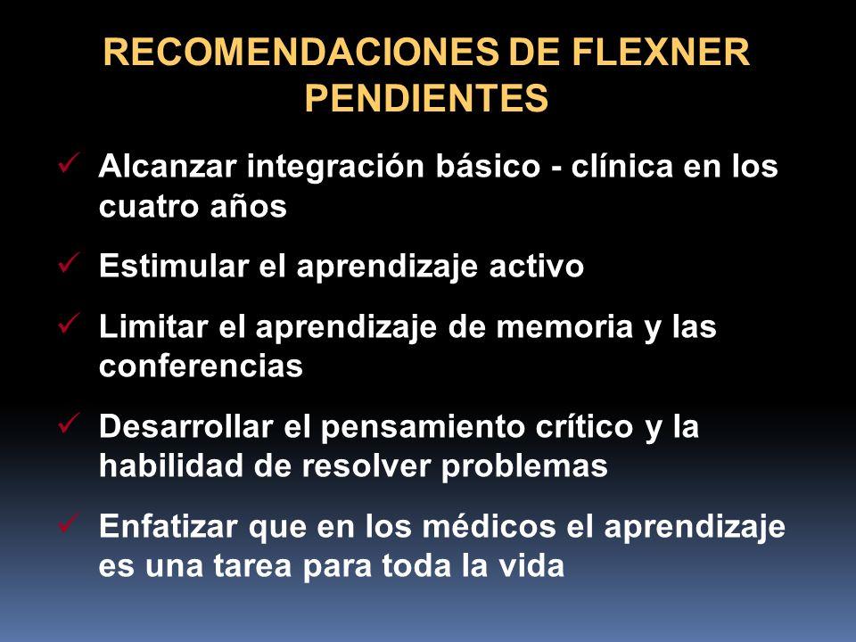 RECOMENDACIONES DE FLEXNER PENDIENTES