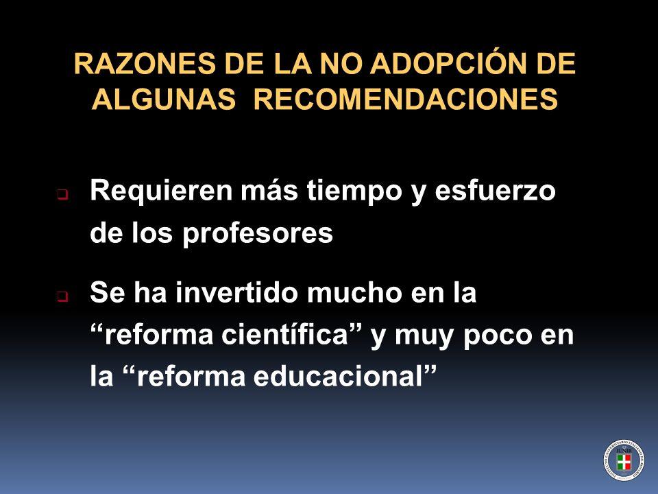 RAZONES DE LA NO ADOPCIÓN DE ALGUNAS RECOMENDACIONES
