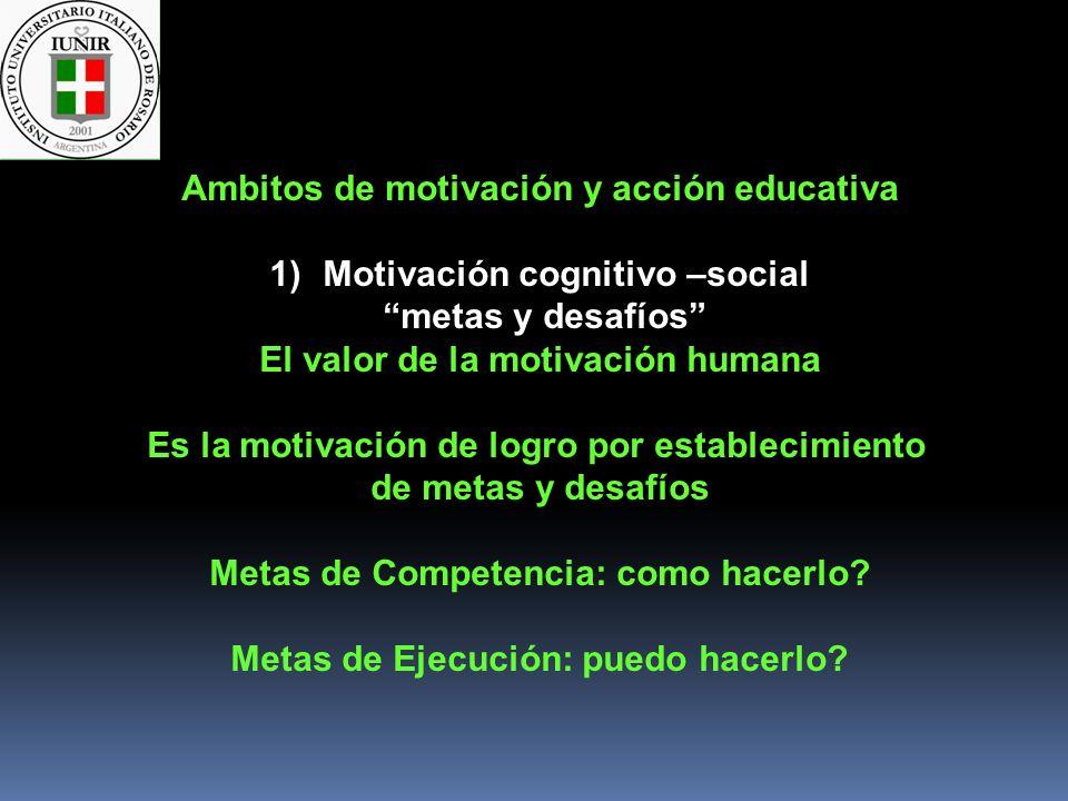 Ambitos de motivación y acción educativa Motivación cognitivo –social