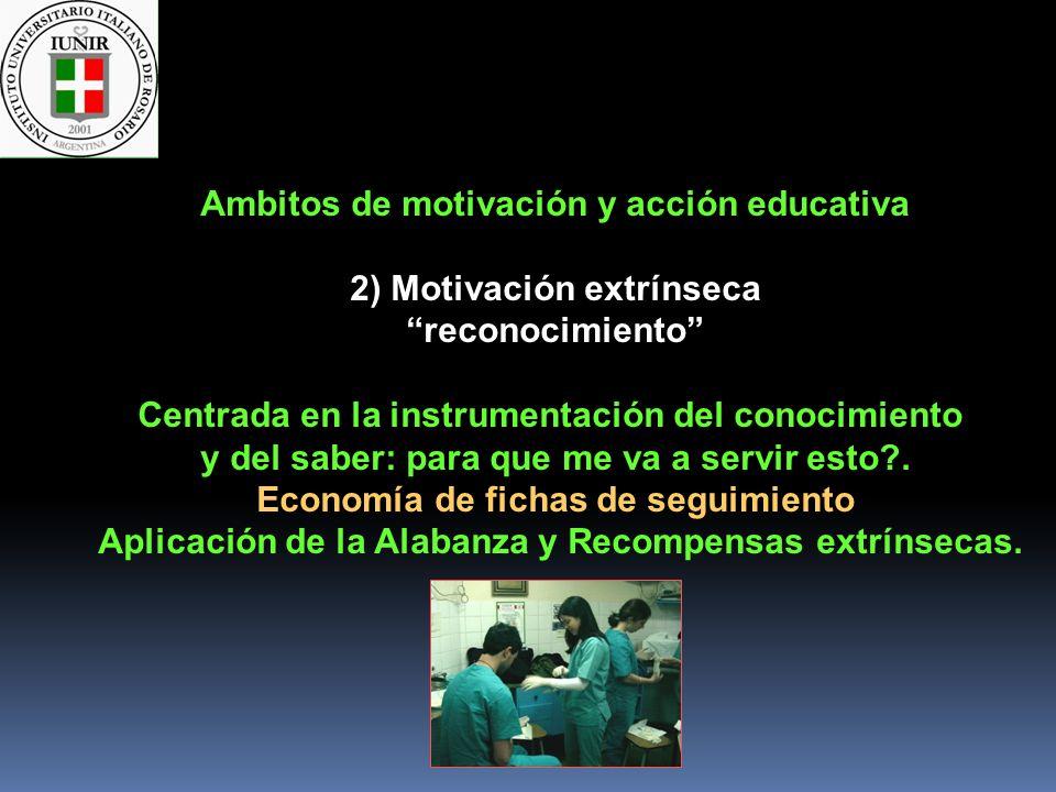 Ambitos de motivación y acción educativa 2) Motivación extrínseca