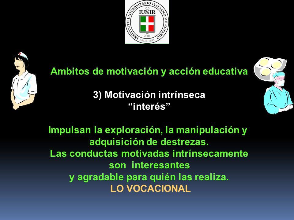 Ambitos de motivación y acción educativa 3) Motivación intrínseca