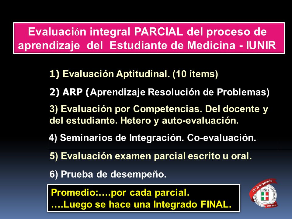 Evaluación integral PARCIAL del proceso de