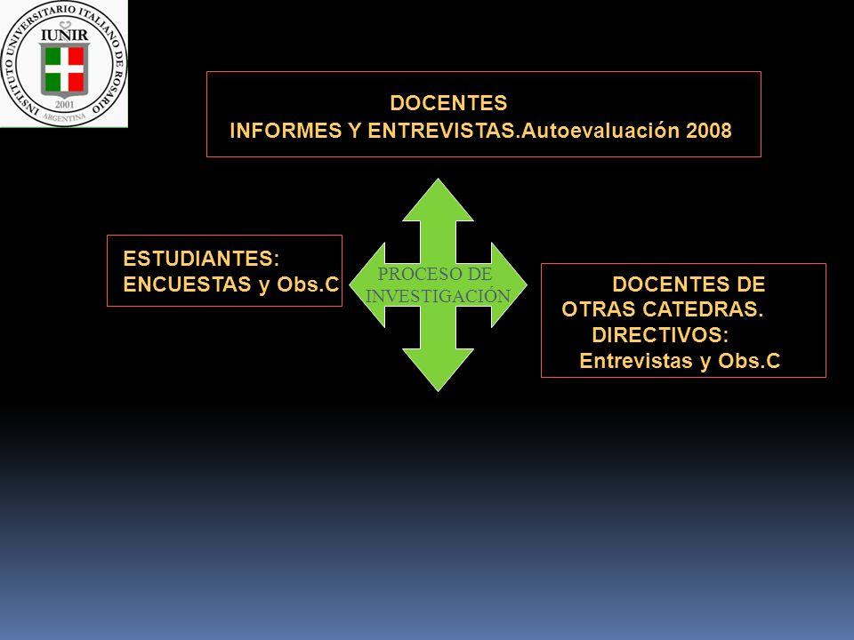 DOCENTES INFORMES Y ENTREVISTAS.Autoevaluación 2008 ESTUDIANTES: