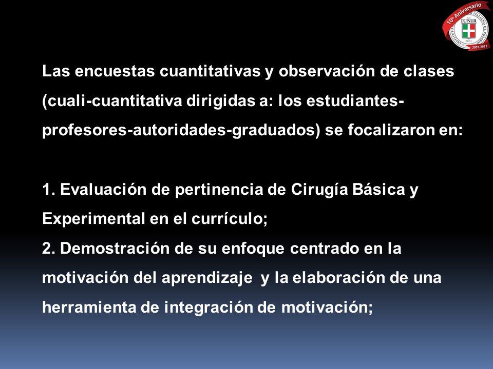 Las encuestas cuantitativas y observación de clases (cuali-cuantitativa dirigidas a: los estudiantes-profesores-autoridades-graduados) se focalizaron en: