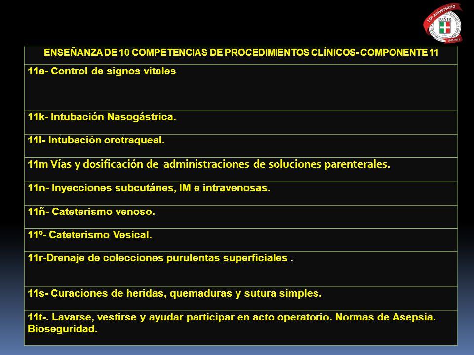ENSEÑANZA DE 10 COMPETENCIAS DE PROCEDIMIENTOS CLÍNICOS- COMPONENTE 11