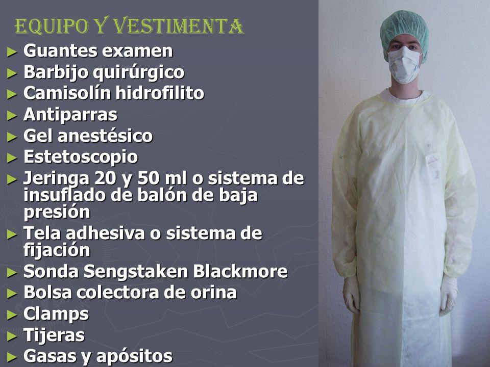 Equipo y Vestimenta Guantes examen Barbijo quirúrgico