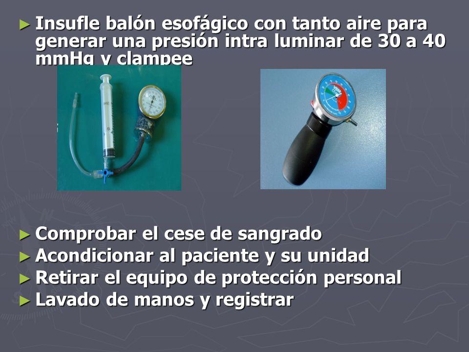 Insufle balón esofágico con tanto aire para generar una presión intra luminar de 30 a 40 mmHg y clampee
