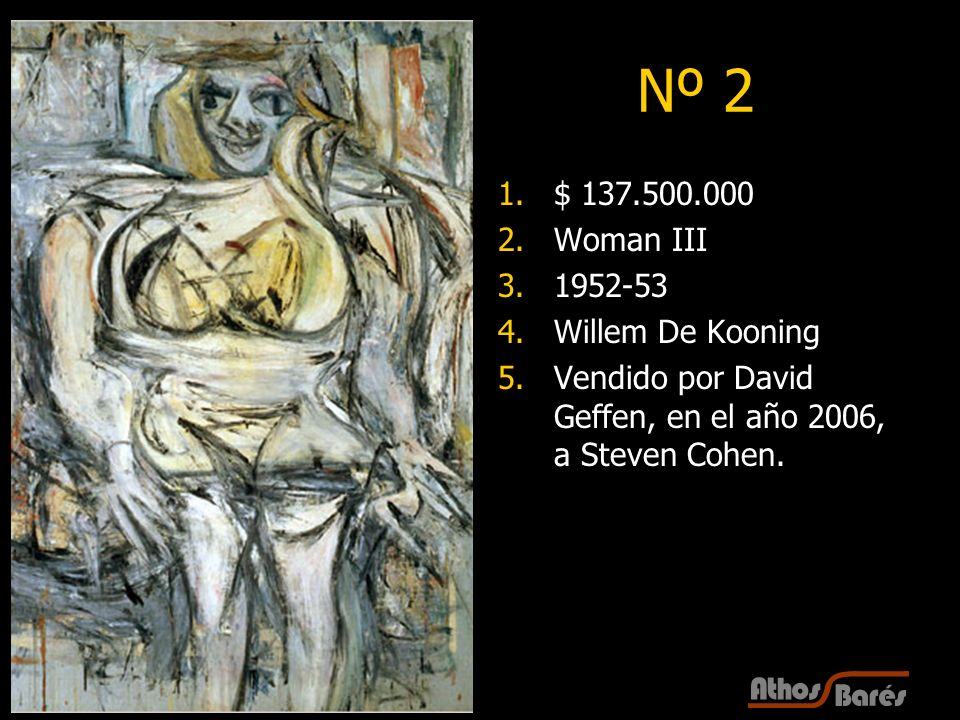 Nº 2 $ 137.500.000 Woman III 1952-53 Willem De Kooning