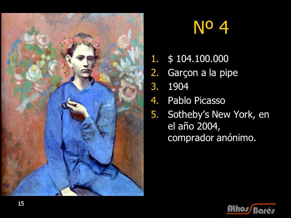 Nº 4 $ 104.100.000 Garçon a la pipe 1904 Pablo Picasso
