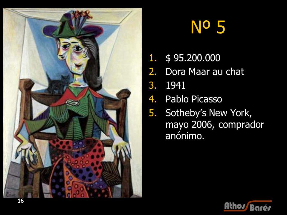 Nº 5 $ 95.200.000 Dora Maar au chat 1941 Pablo Picasso