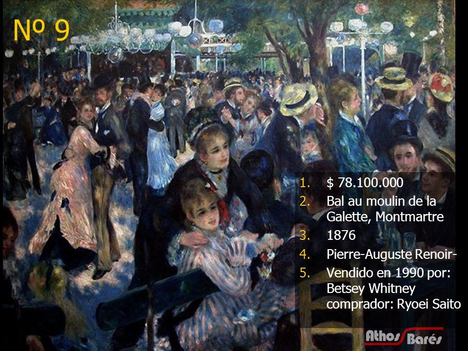 Nº 9 $ 78.100.000 Bal au moulin de la Galette, Montmartre 1876