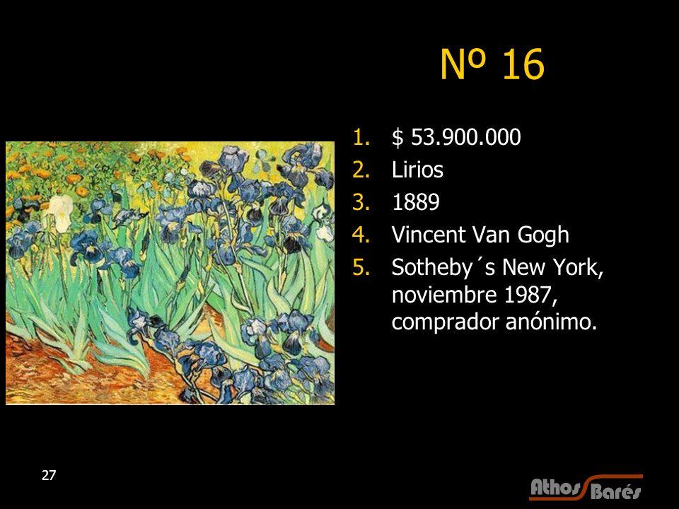 Nº 16 $ 53.900.000 Lirios 1889 Vincent Van Gogh