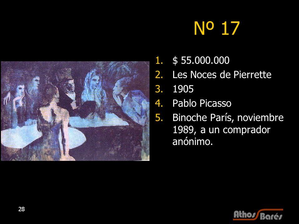 Nº 17 $ 55.000.000 Les Noces de Pierrette 1905 Pablo Picasso