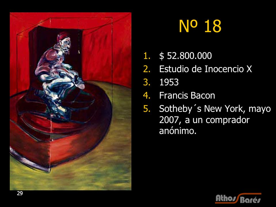 Nº 18 $ 52.800.000 Estudio de Inocencio X 1953 Francis Bacon