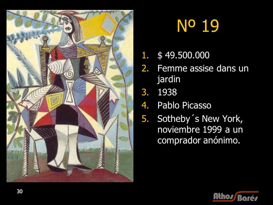 Nº 19 $ 49.500.000 Femme assise dans un jardin 1938 Pablo Picasso