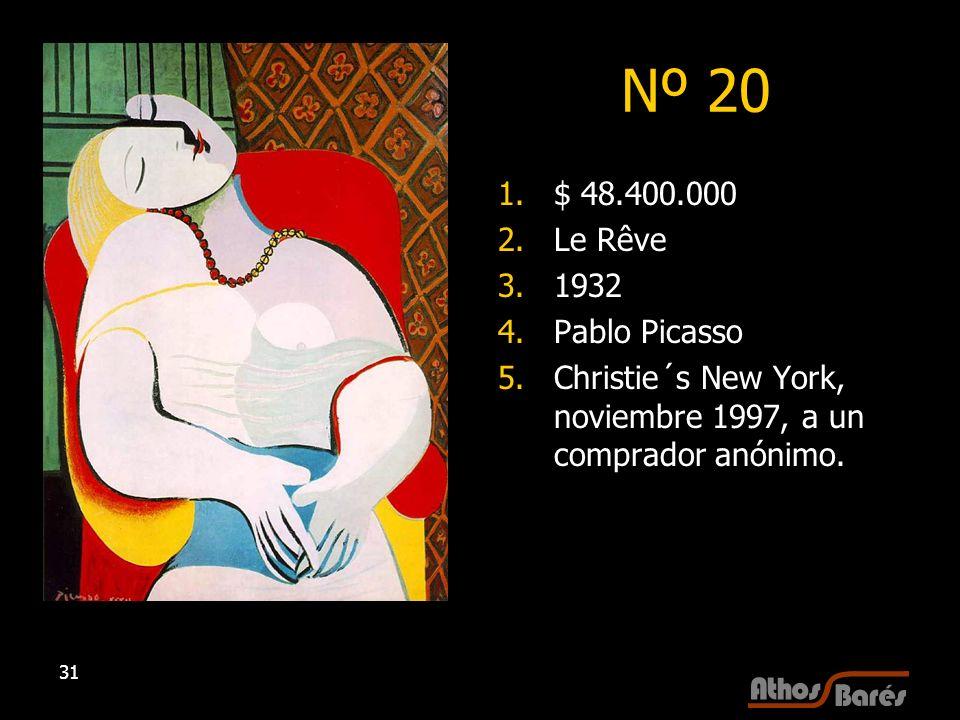 Nº 20 $ 48.400.000 Le Rêve 1932 Pablo Picasso