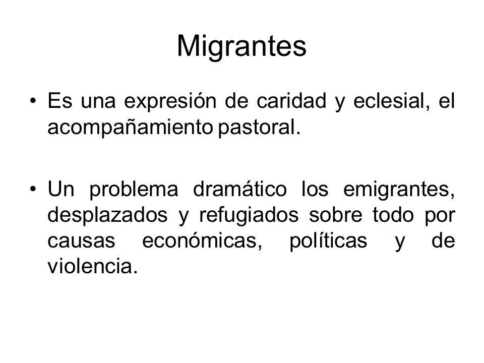 Migrantes Es una expresión de caridad y eclesial, el acompañamiento pastoral.