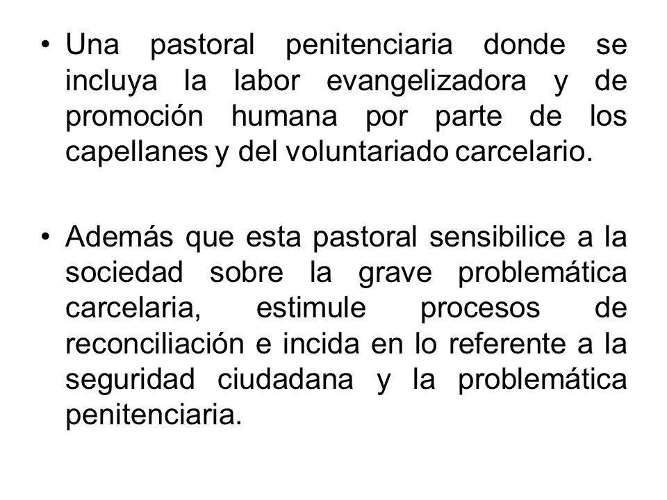 Una pastoral penitenciaria donde se incluya la labor evangelizadora y de promoción humana por parte de los capellanes y del voluntariado carcelario.