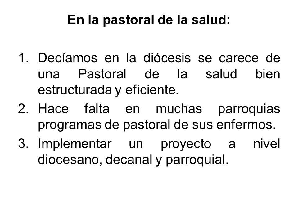 En la pastoral de la salud: