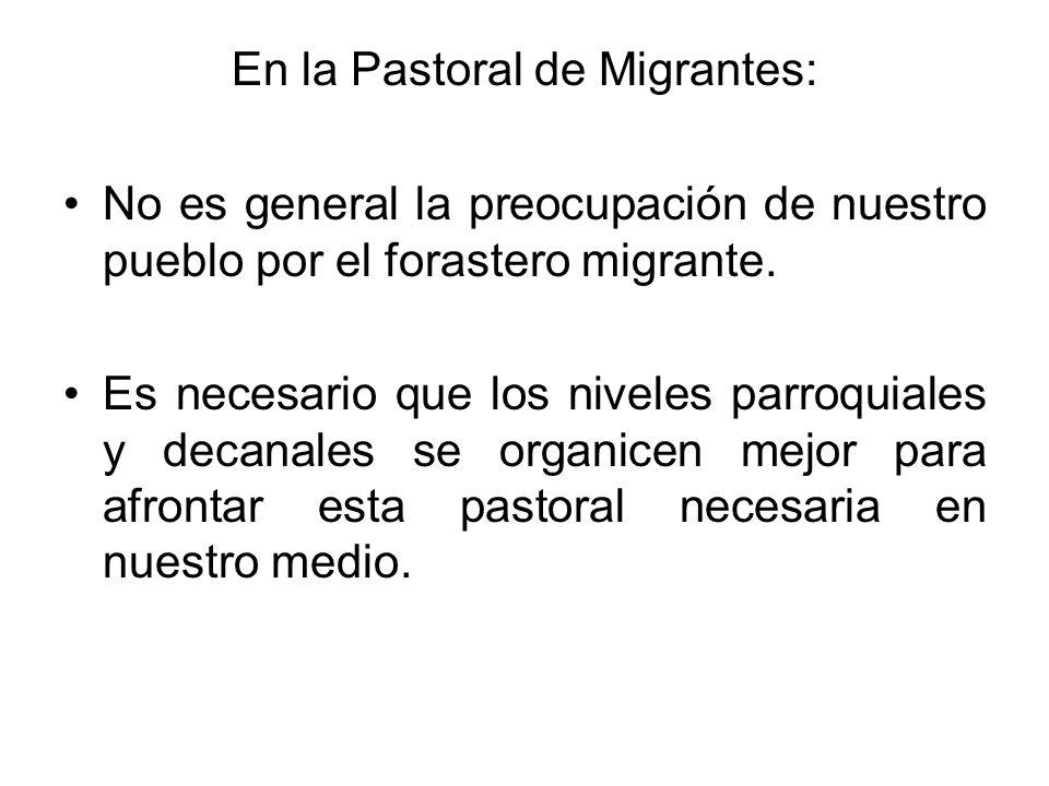 En la Pastoral de Migrantes: