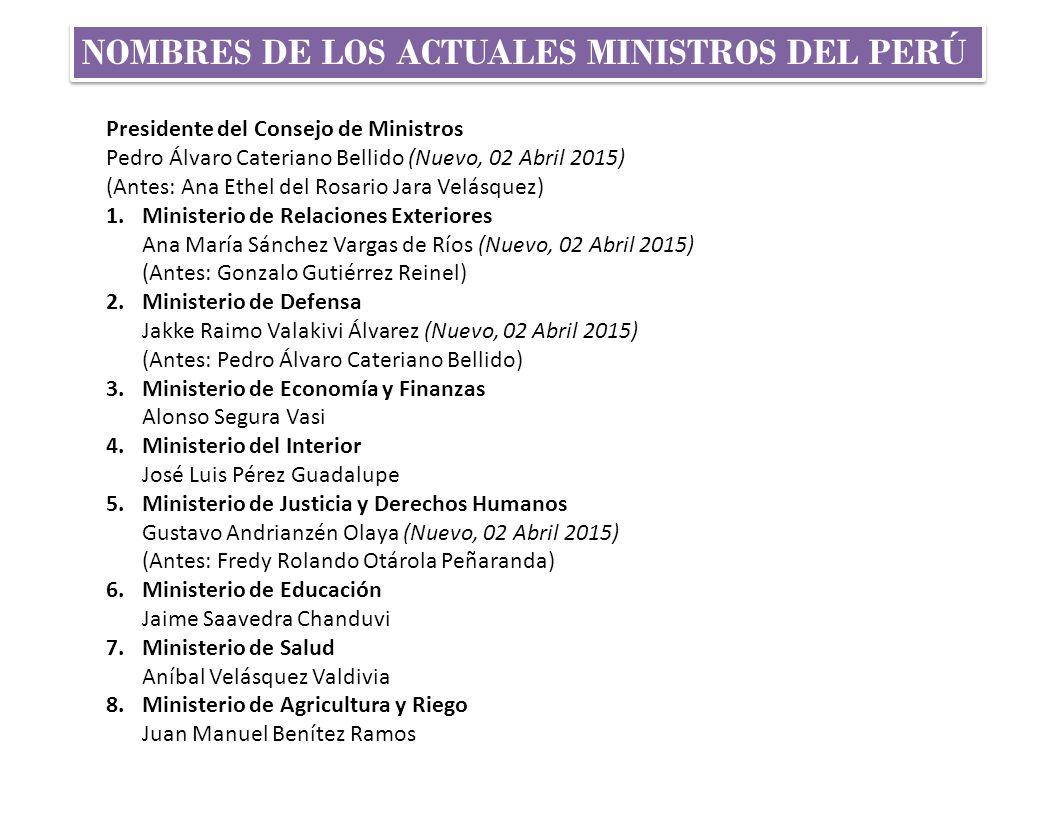 La estructura del estado peruano ppt descargar for Nombre del ministro del interior actual