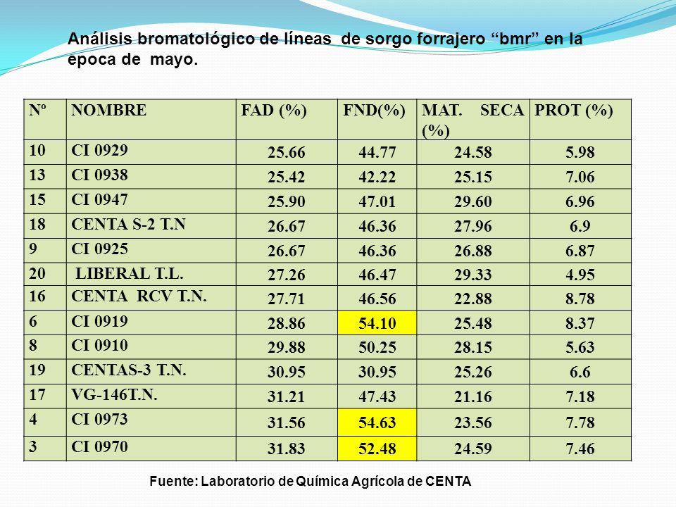 Análisis bromatológico de líneas de sorgo forrajero bmr en la epoca de mayo.