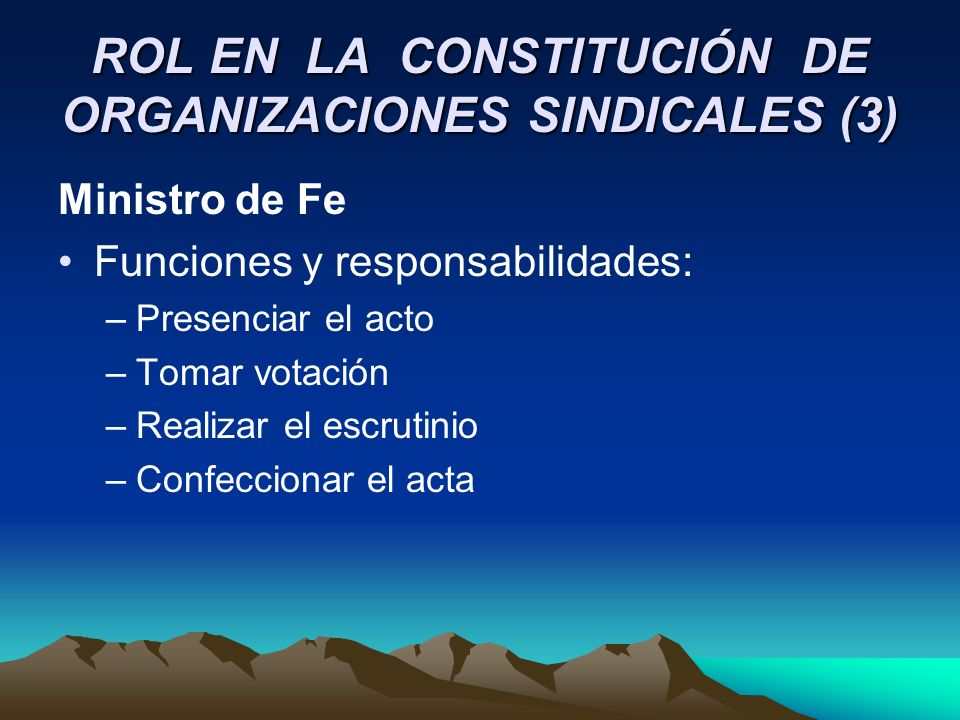 ROL EN LA CONSTITUCIÓN DE ORGANIZACIONES SINDICALES (3)