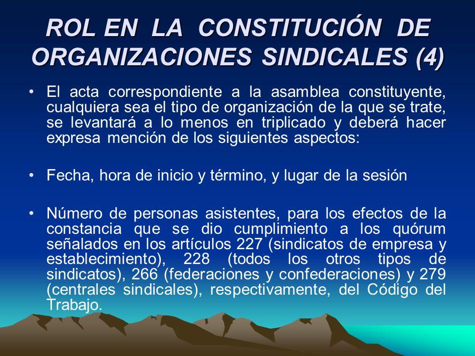 ROL EN LA CONSTITUCIÓN DE ORGANIZACIONES SINDICALES (4)