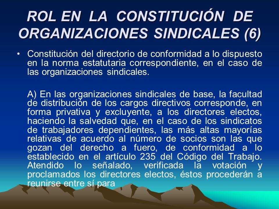 ROL EN LA CONSTITUCIÓN DE ORGANIZACIONES SINDICALES (6)