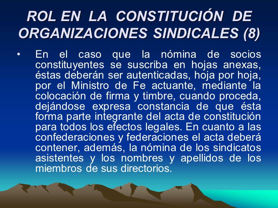ROL EN LA CONSTITUCIÓN DE ORGANIZACIONES SINDICALES (8)