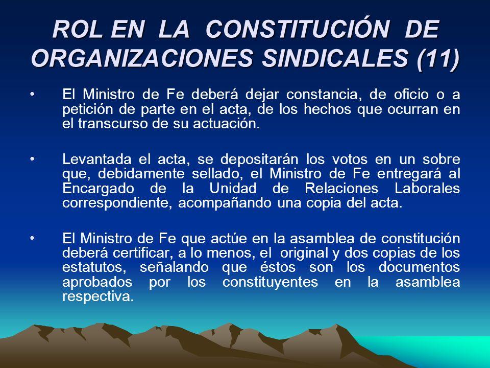 ROL EN LA CONSTITUCIÓN DE ORGANIZACIONES SINDICALES (11)