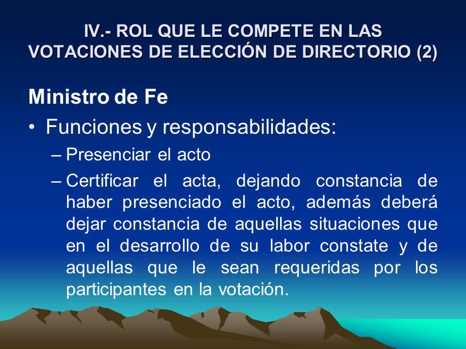 Funciones y responsabilidades: