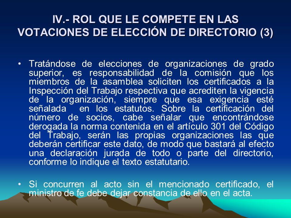 IV.- ROL QUE LE COMPETE EN LAS VOTACIONES DE ELECCIÓN DE DIRECTORIO (3)