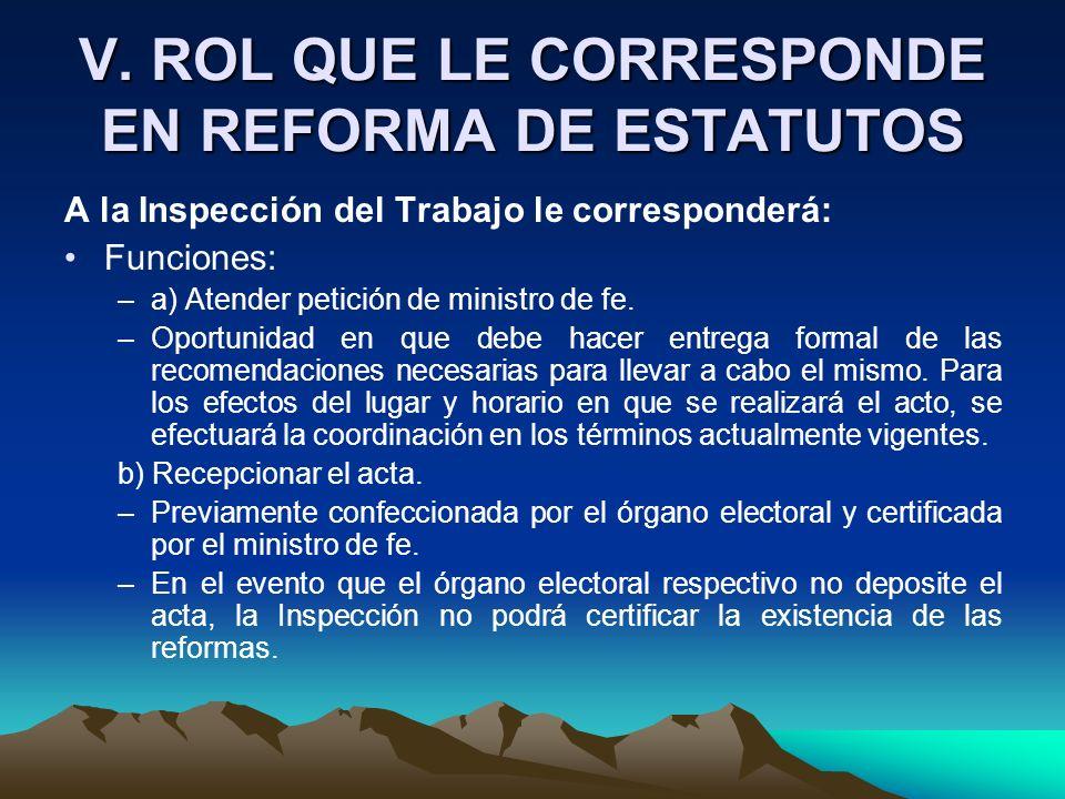 V. ROL QUE LE CORRESPONDE EN REFORMA DE ESTATUTOS