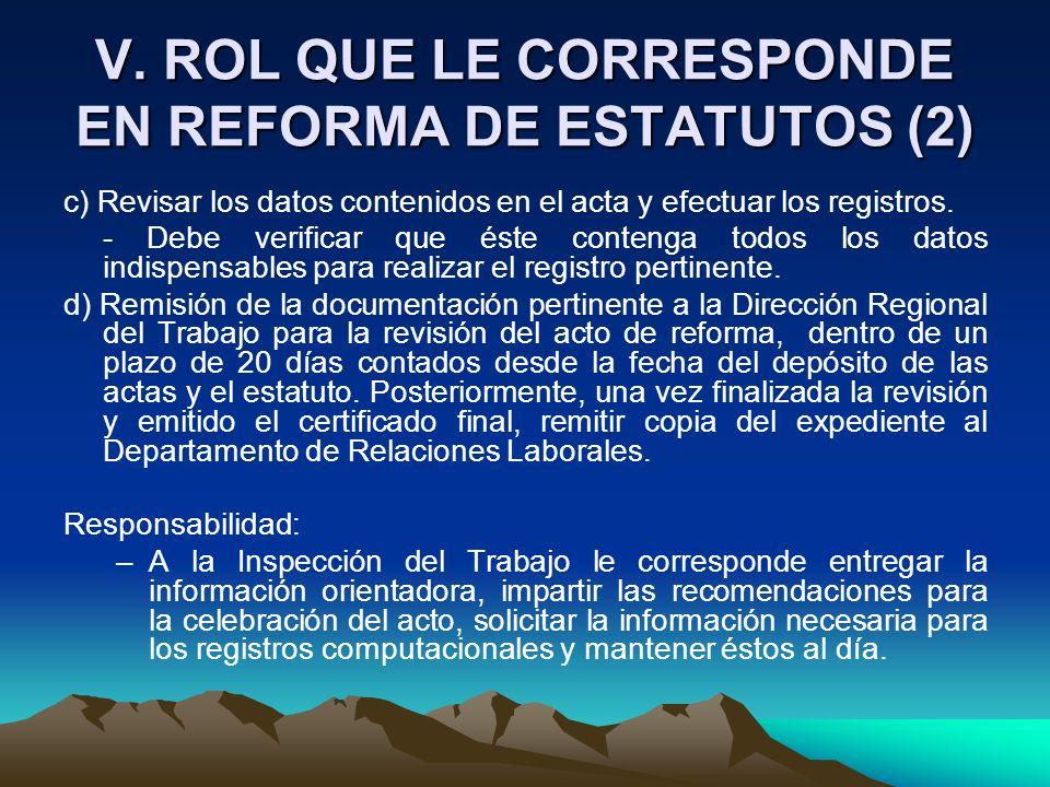 V. ROL QUE LE CORRESPONDE EN REFORMA DE ESTATUTOS (2)
