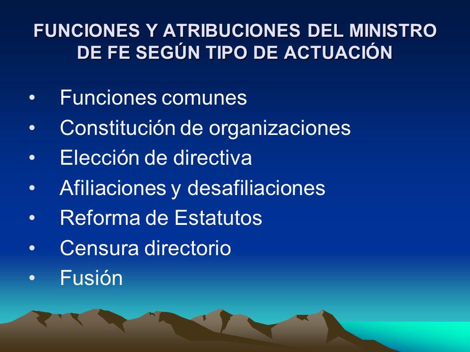 FUNCIONES Y ATRIBUCIONES DEL MINISTRO DE FE SEGÚN TIPO DE ACTUACIÓN