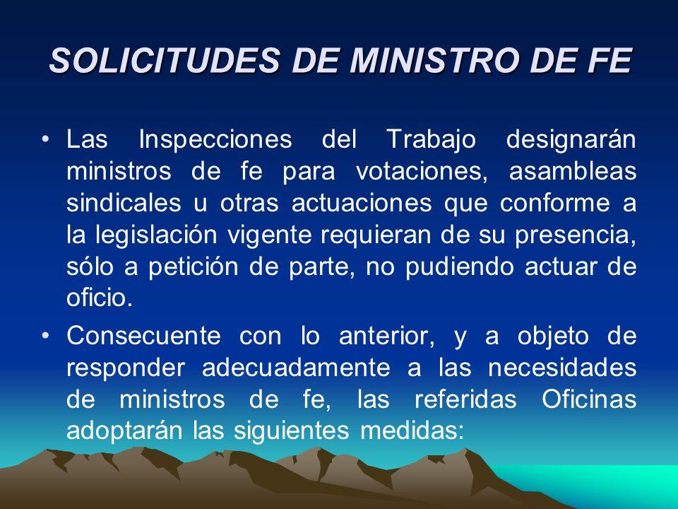 SOLICITUDES DE MINISTRO DE FE