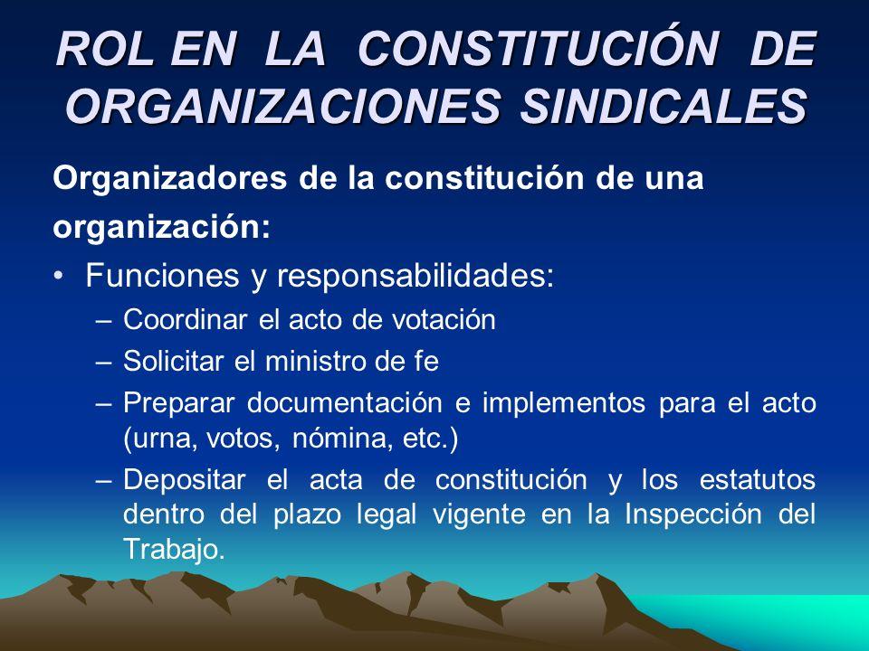 ROL EN LA CONSTITUCIÓN DE ORGANIZACIONES SINDICALES
