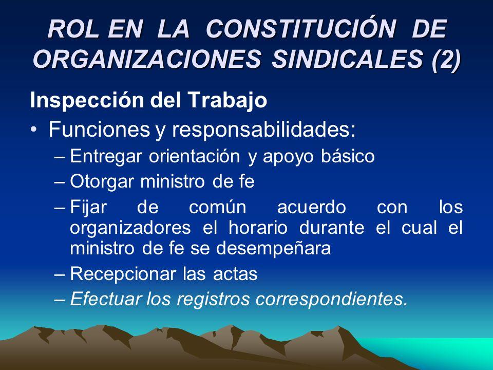 ROL EN LA CONSTITUCIÓN DE ORGANIZACIONES SINDICALES (2)