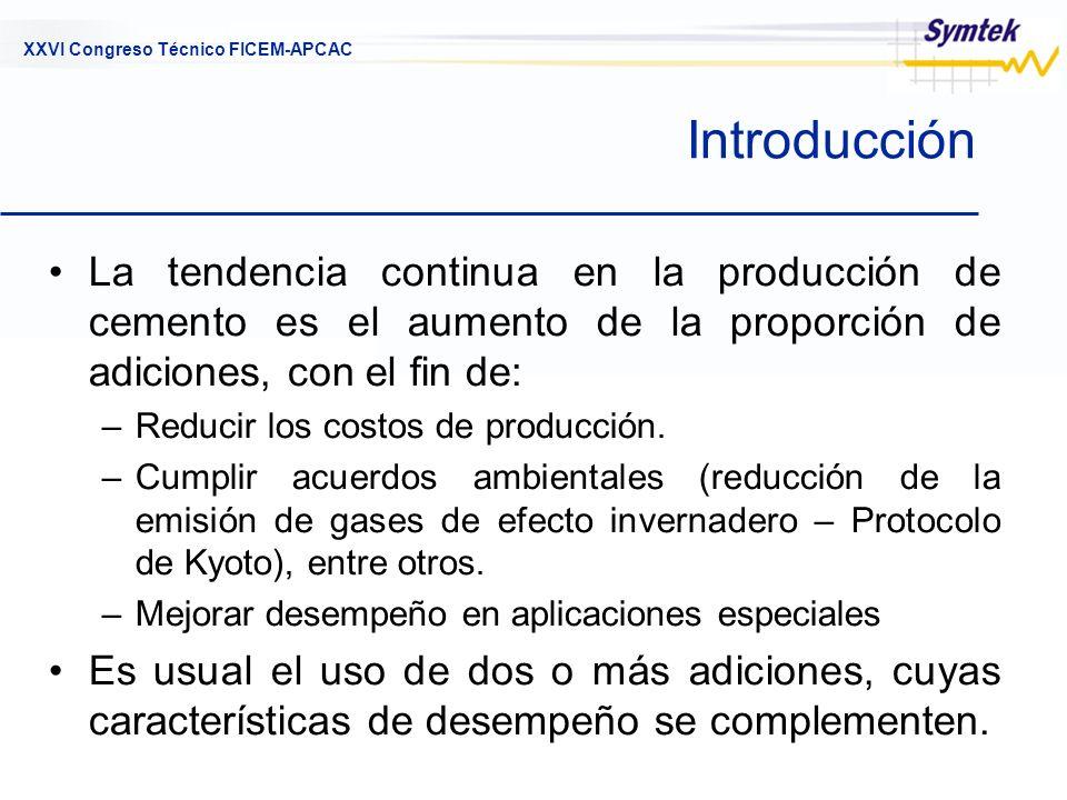 Introducción La tendencia continua en la producción de cemento es el aumento de la proporción de adiciones, con el fin de: