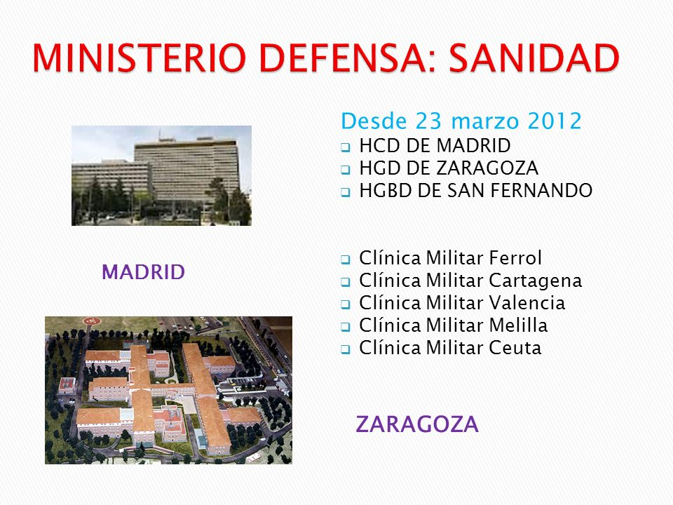 MINISTERIO DEFENSA: SANIDAD
