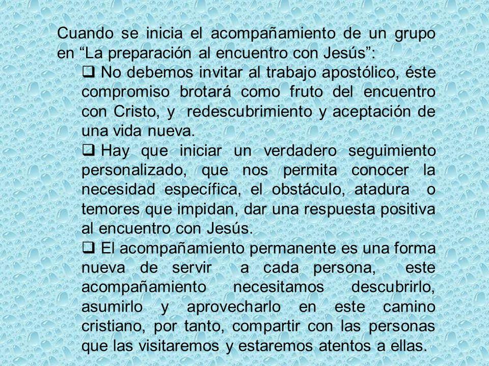 Cuando se inicia el acompañamiento de un grupo en La preparación al encuentro con Jesús :